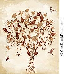 drzewo, na, papirus