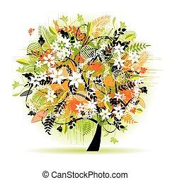 drzewo, piękny, kwiatowy
