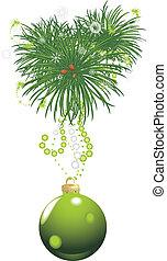 drzewo, piłka, zielony, boże narodzenie