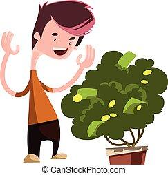 drzewo, pieniądze, rozwój, zielony