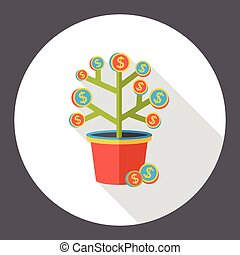 drzewo pieniędzy, finanse, płaski, ikona