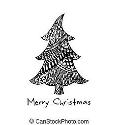 drzewo, powitanie, ręka, pociągnięty, kartka na boże narodzenie