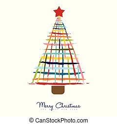 drzewo, powitanie, sosna, ręka, szczotka, pociągnięty, kartka na boże narodzenie