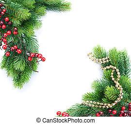 drzewo, projektować, decoration., brzeg, boże narodzenie