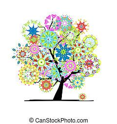 drzewo, projektować, twój, rozkwiecony
