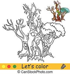 drzewo, przykład, barwny, kolorowanie, straszliwy, halloween