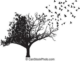 drzewo, ptak, sztuka, wektor