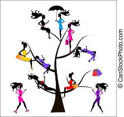 drzewo, różny, sociology, dziewczyny