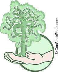 drzewo, ręka