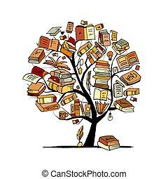 drzewo, rys, książki, projektować, twój