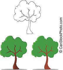 drzewo, rysunek, zbiór, komplet