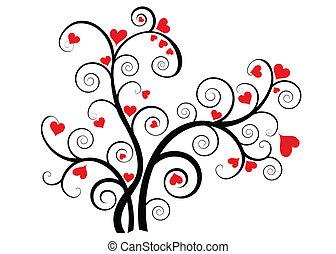 drzewo, serca, miłość, czerwony, valentine