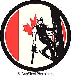 drzewo, shield-can-flag, bok, chainsaw, arborist
