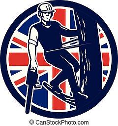 drzewo, shield-uk-flag, bok, chainsaw, arborist