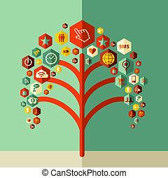 drzewo, sieć, barwny, towarzyski