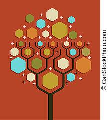 drzewo, sieć, handlowy, towarzyski