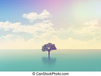 drzewo, skutek, scena, retro, ocean, 3d