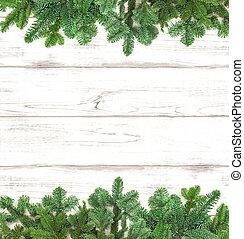 drzewo sosny, gałązki, na, drewniany, tło., zima, ferie
