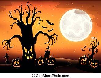 drzewo, spooky, sylwetka, topic, 3, wizerunek