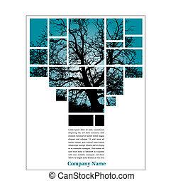drzewo, strona, układ