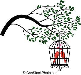 drzewo, sylwetka, rysunek, ptak
