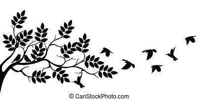 drzewo, sylwetka, z, lecące ptaszki