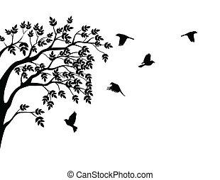 drzewo, sylwetka, z, lecący ptaszek