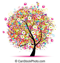 drzewo, szczęśliwy, święto, zabawny, balony