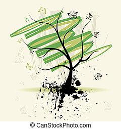 drzewo, sztuka, grunge, tło