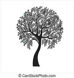 drzewo, tło, ilustracja, -, wektor, biały