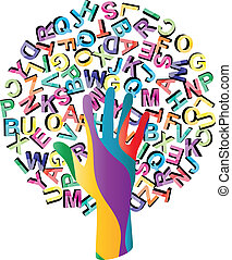 drzewo, takty muzyczne, ręka