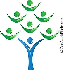 drzewo, teamwork, grupa, ludzie
