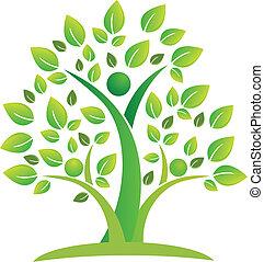 drzewo, teamwork, ludzie, symbol, logo