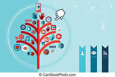 drzewo, techno, projektować, sieć, towarzyski