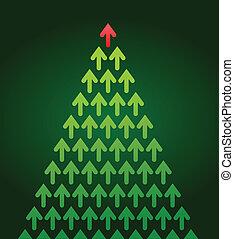 drzewo, temat, boże narodzenie, handlowy, strzała