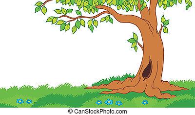 drzewo, trawiasty, krajobraz