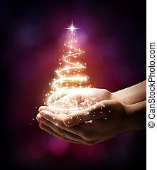 drzewo, twój, -, boże narodzenie, czerwony, ręka