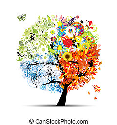 drzewo, twój, wiosna, winter., pory, -, jesień, lato, sztuka...