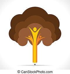 drzewo, twórczy, projektować, ołówek