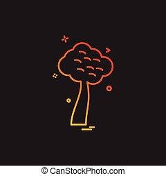 drzewo, wektor, projektować, ikona