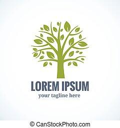 drzewo, wektor, projektować, szablon, logo, zielony