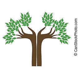 drzewo., wektor, ręka