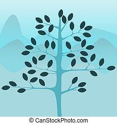 drzewo, z, góry, w, przedimek określony przed rzeczownikami, tło