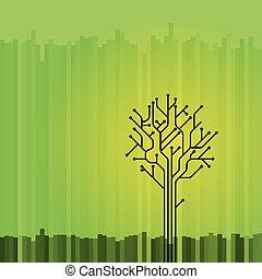 drzewo, zielony, deska, objazd