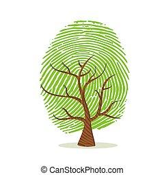 drzewo, zielony, palec, ludzki, odcisk palca, druk