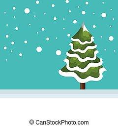 drzewo zima, krajobraz, sosna