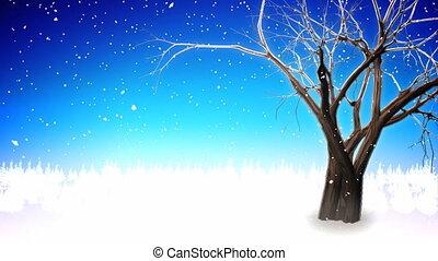 drzewo zima, pętla