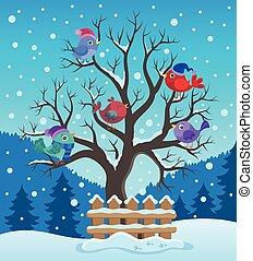 drzewo zima, ptaszki