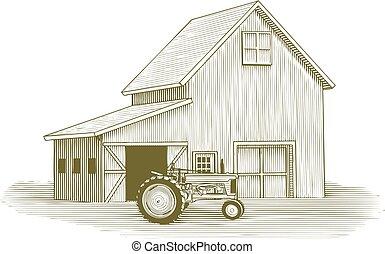 drzeworyt, traktor, stodoła