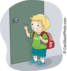 drzwi, chłopiec, pukanie